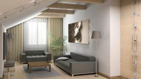Grey Sofa And Picture on Wall Closeup